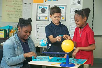 Picture of children learning about the universe with a model of the solar system.