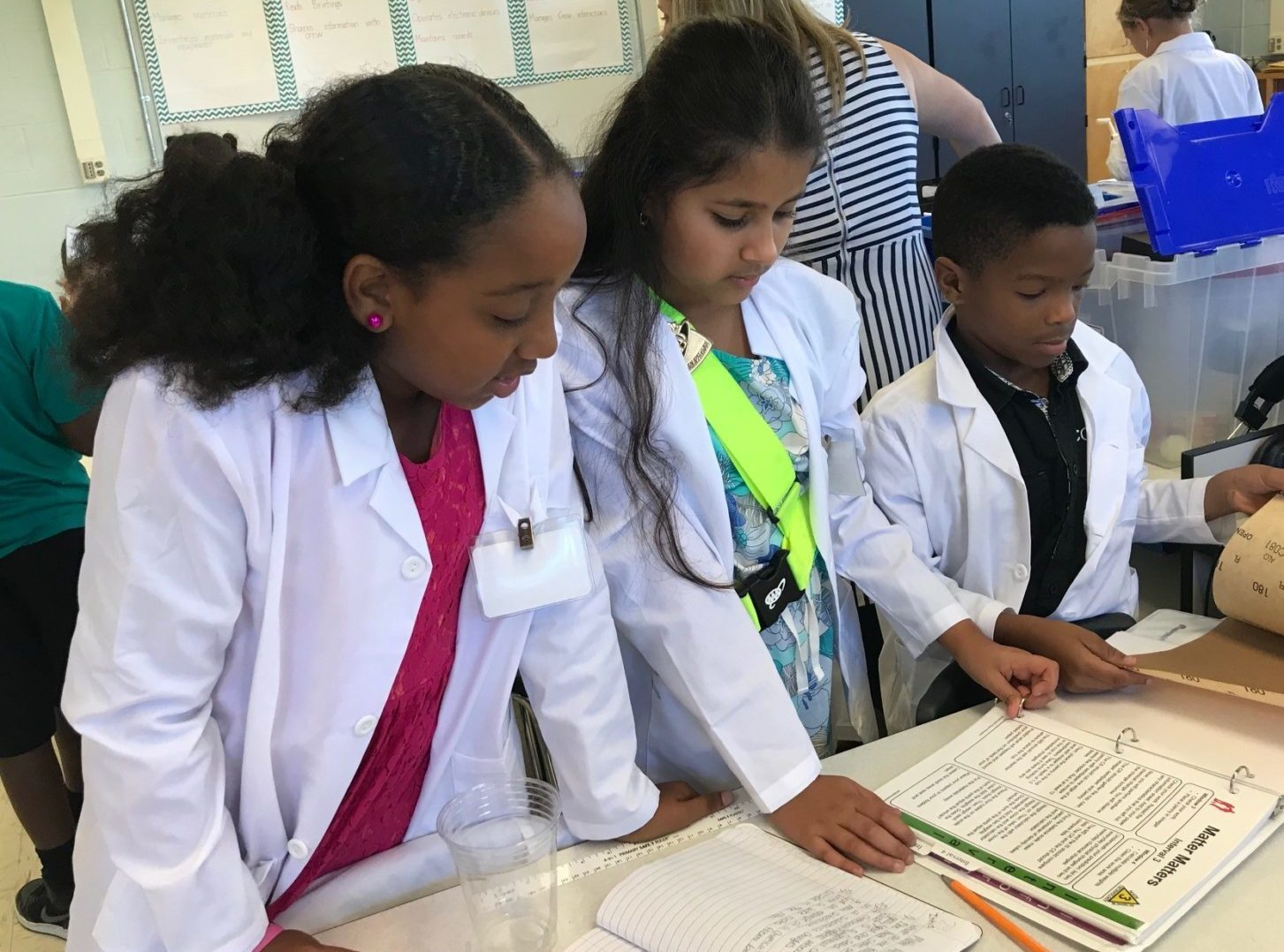 Picture of students conducting a science experiment in class.