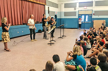 Musical performance for students at Mayport Coastal Sciences Elementary School