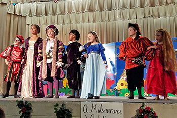 Elementary school students perform in a play at Chimney Lakes Elementary School.