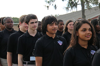 Students stand at attention at Joseph Stilwell Military Academy of Leadership