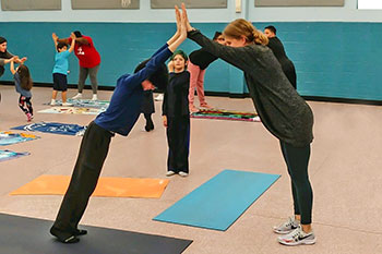 Yoga class at Mayport Coastal Sciences Elementary School