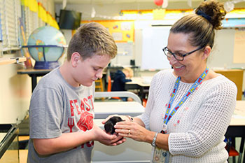 Crown Point Elementary student and teacher with small animal in class.