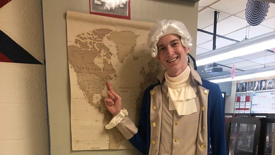 Student dressed as historical figure for Wolfson High School history class.