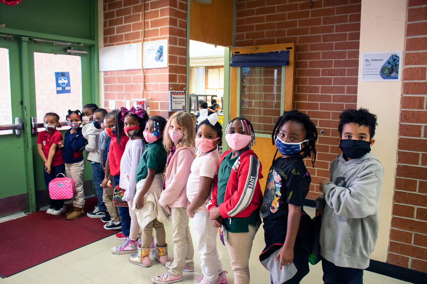 Fort Caroline students lined up in orderly fashion